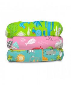 Set 3 Scutece textile Charlie Banana Florida Safari Pink Organic cu inserturi noi de cânepă cu fleece - Mărime Unică