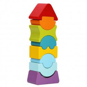 Set constructii 8 piese, Turn cu acoperis rosu - Jucarie din lemn, Cubika