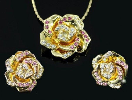 Set De Bijuterii Frosen Golden Rose