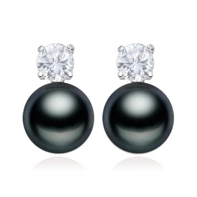 Cercei Argint Perle Negre Lisa