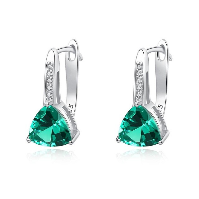 Cercei Argint Signorina Emerald Crystal