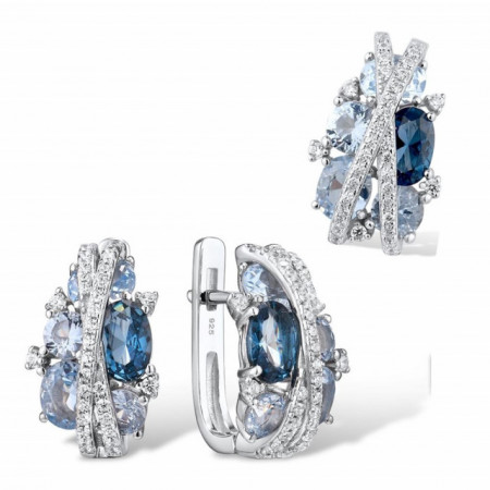 set bijuterii argint albastre