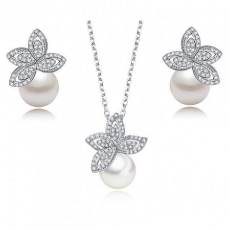 Set de bijuterii cu perle si cristale Lotus