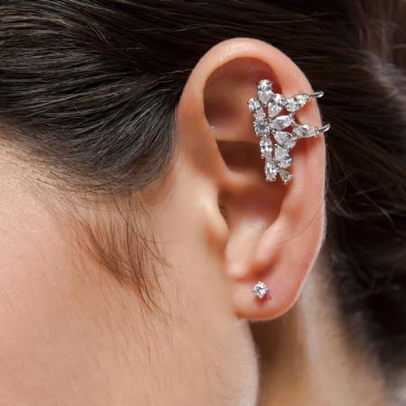 Ear cuff cercei albi Corine