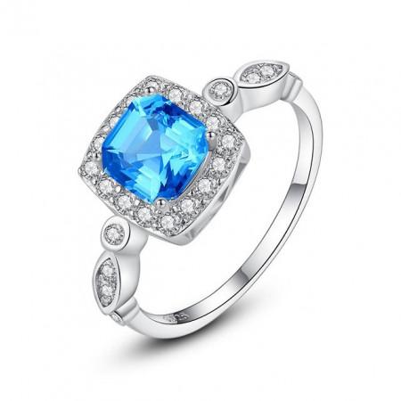 inel argint albastru
