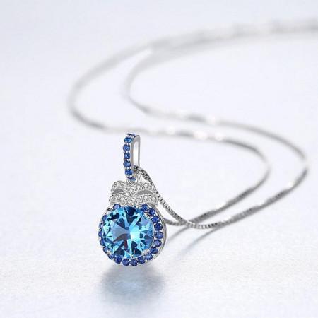 colier albastru argint