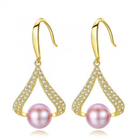 cercei perle naturale mov