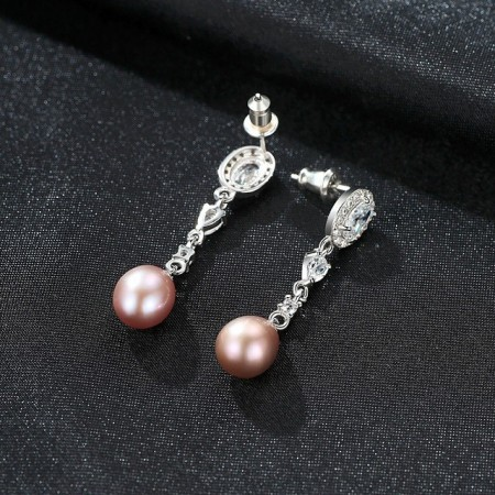Cercei perle naturale mov Scarlet