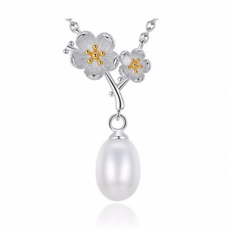 colier floare perla naturala