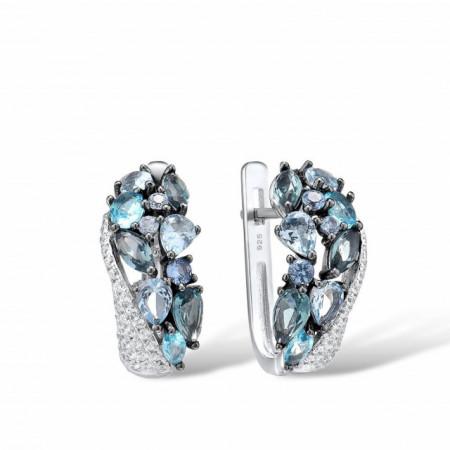 cercei albastri din argint