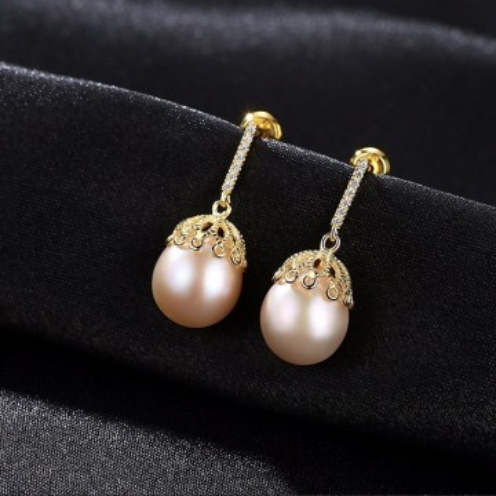Cercei perle naturale Amaze din argint 925 aurit