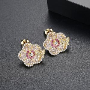 Marigold Cercei Aurii Cristale Roz
