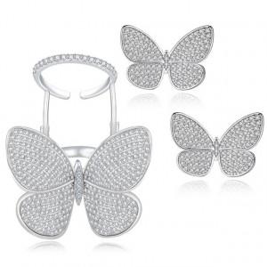 Set cercei si inel fluture Joanna