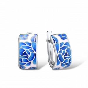 Cercei argint floare albastra Adaline
