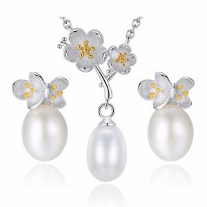 Cercei si colier AG925 cu perle naturale Loreen