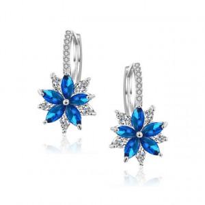 Cercei albastri Floare de Cristal