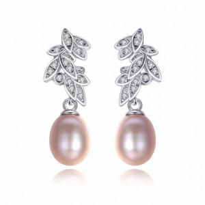 Cercei argint cu perle mov Melissa