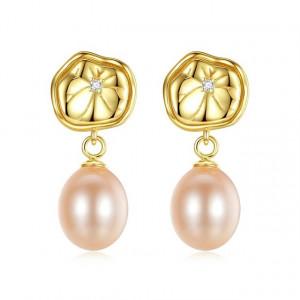 Cercei perle naturale mov Greta
