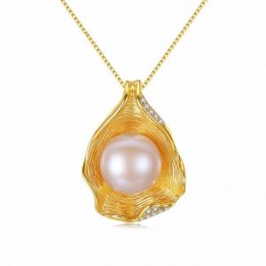 Colier AG925 aurit perla naturala Rita (2 culori)