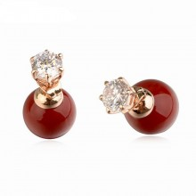 Cercei double pearls Bordeaux