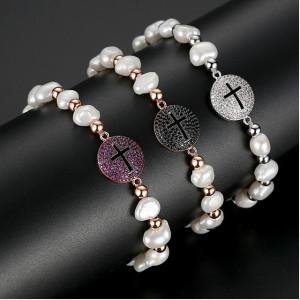 Bratara Cruce Neagra cu perle naturale