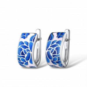 cercei floare albastra