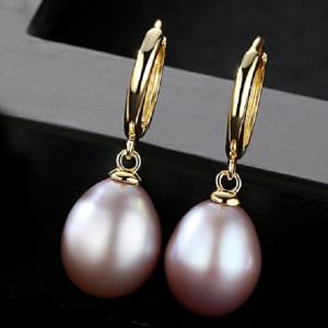 cercei perle mov bianca