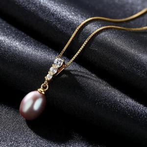 Colier AG perla naturala mov Mariah