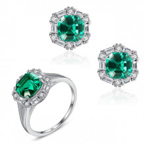Set cercei si inel argint Lady Emerald
