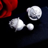 Cercei Crystal Double Pearls