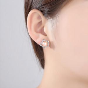 cercei perla roz piersica