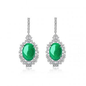 Cercei piatra verde Jade