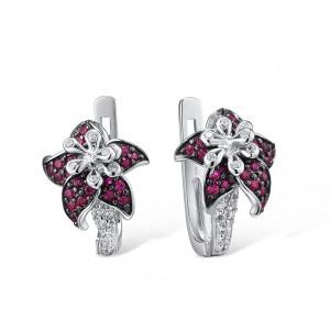 Cercei rosii din argint Iris