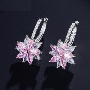 Narcisse Cercei floare cristale roz