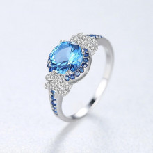 inel dama cristal albastru