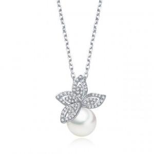 Colier cu perle si cristale Lotus