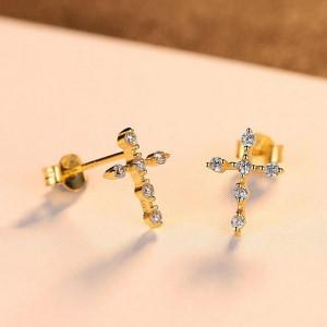 Cercei Cruce din argint aurit