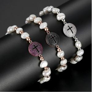 Bratara Perle si Cruce Fuchsia