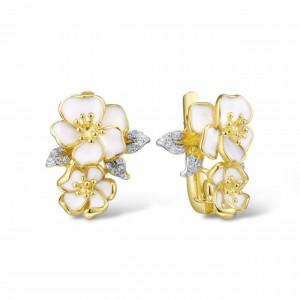 Cercei floare din argint aurit Lima