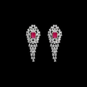Cercei lungi cristale rubinii Jacqueline