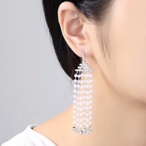 cercei lungi cu perle