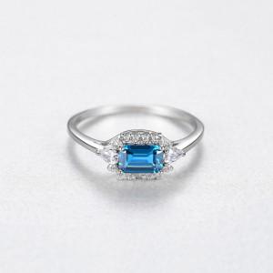 inel argint piatra albastra