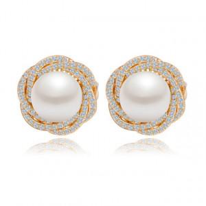 Cercei aurii cu perle Carolina