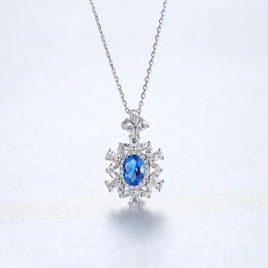 Colier albastru din argint Yasmina