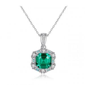 Colier argint piatra verde Lady Emerald