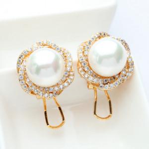 cercei auriu perle