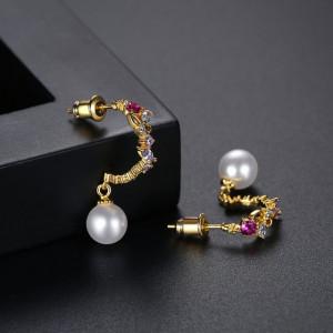 cercei aurii perle