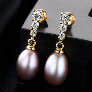 Cercei perle naturale mov Mariah