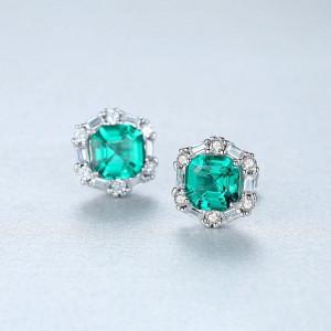 Cercei verzi din argint Lady Emerald