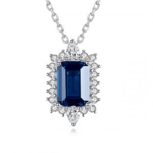Colier albastru din argint Elena